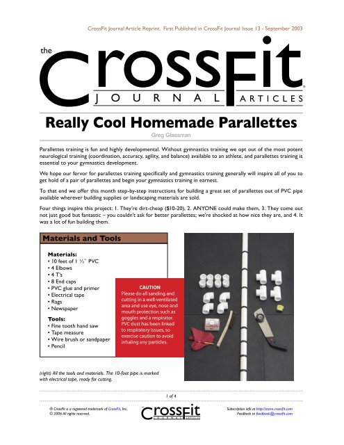 Really Cool Homemade Parallettes - CrossFit