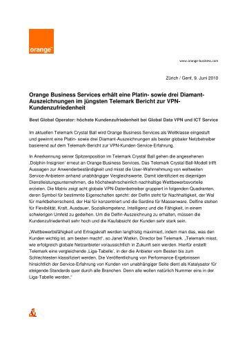 Orange Business Services erhält eine Platin- sowie drei Diamant ...