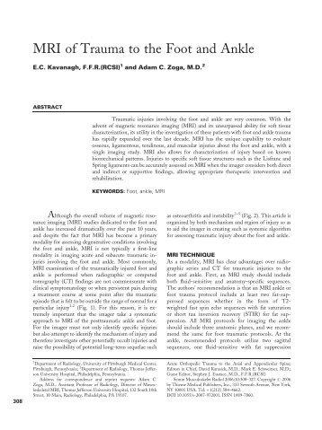 MRI of Trauma to the Foot and Ankle - Laboratorio Silesia