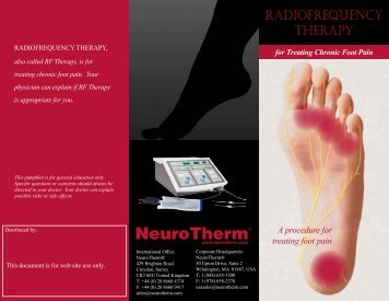 RADIOFREqUENCY THERAPY - NeuroTherm