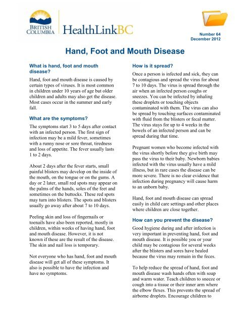 Hand, Foot and Mouth Disease - HealthLinkBC
