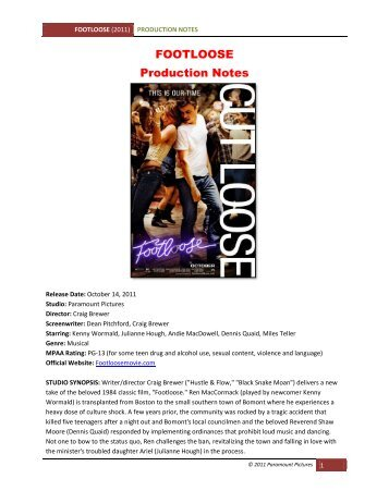 FOOTLOOSE Production Notes - VisualHollywood