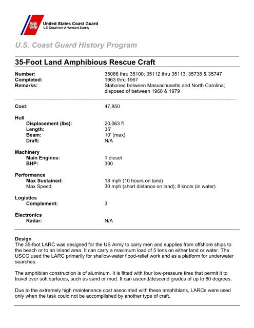 35-Foot Land Amphibious Rescue Craft - U S  Coast Guard