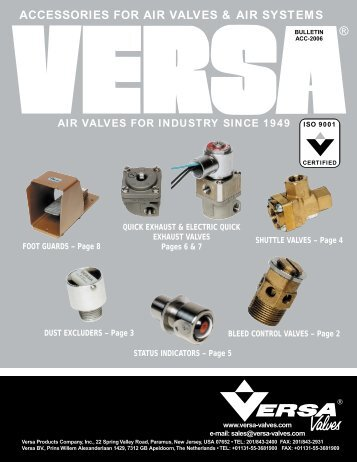 ACCESSORIES FOR AIR VALVES & AIR SYSTEMS - Versa Valves