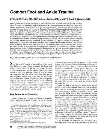 Combat Foot and Ankle Trauma - Wheeless' Textbook of Orthopaedics
