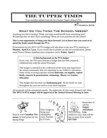 Tupper Times March 2013 - Sir Charles Tupper School