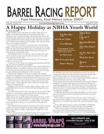 A Happy Holiday at NBHA Youth World - Barrel Racing Report