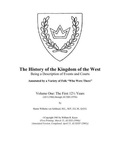 Annotated History Of The West The History Of The Kingdom Of The