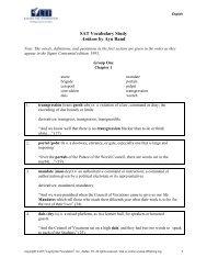 SAT Vocabulary Study Anthem by Ayn Rand