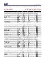 HP Toner Preisliste
