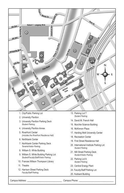 Campus Map (PDF) - UM-Flint - Campus Map - University of ... on wmu campus map, university at buffalo campus map, eastern florida state college campus map, national fire academy campus map, university of tokyo campus map, smcvt campus map, umd campus map, university hospital campus map, barry university campus map, lr campus map, umich campus map, u of i campus map, university of montevallo campus map, central michigan university campus map, university of central missouri campus map, university of michigan campus map, university of maryland eastern shore campus map, miller school of medicine campus map, siue campus map,