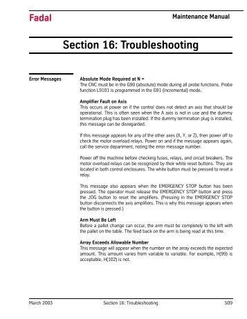 Section 16: Troubleshooting - Flint Machine Tools, Inc.