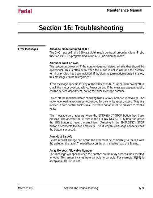 Section 16: Troubleshooting - Flint Machine Tools, Inc
