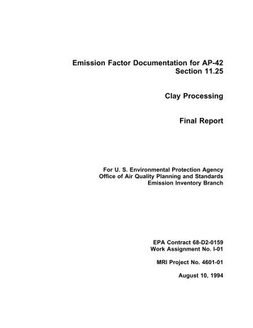 Background Report, AP-42, Vol. I, Section 11.25 Clay Processing