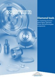 Diamond tools for machining precision optical glass, spectacle