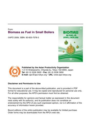 Biomass as Fuel in Small Boilers (PDF 6.4 - APO Asian Productivity ...