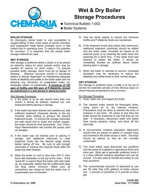 Wet and Dry Boiler Storage Procedures - Chem-Aqua