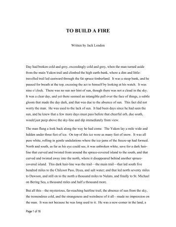 TO BUILD A FIRE - ThoughtAudio.com