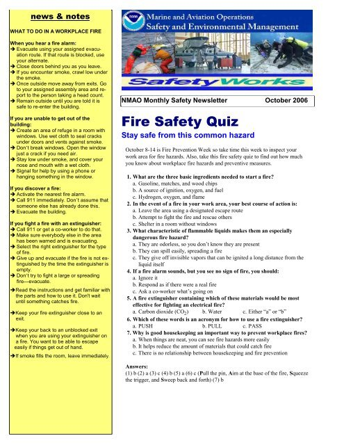 Fire Safety Quiz - NOAA Safety and Environmental Compliance