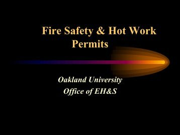 Fire Safety & Hot Work Permits - Oakland University
