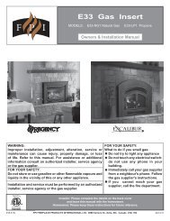 E33 Gas Insert Owners & Installation Manual - Regency Fireplace ...