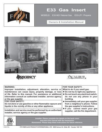 E33 Gas Insert Owners & Installation Manual - Regency Fireplace ...
