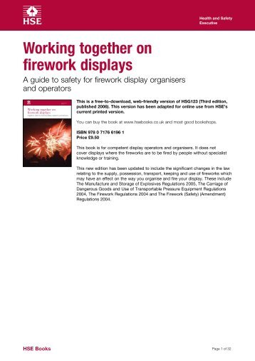HSG123: Working together on firework displays - Health and Safety ...