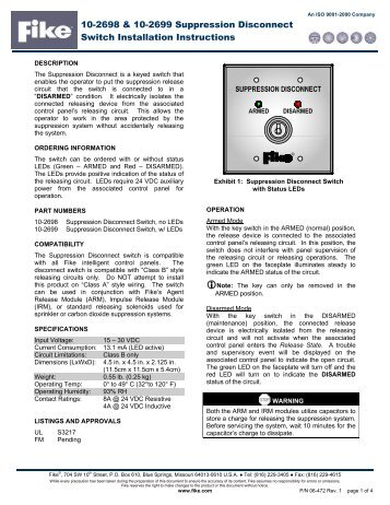 Suppression Disconnect Switch 06-472 - Orr Protection Systems
