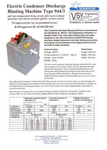 Electric Condenser Discharge Blasting Machine Type 944/3 - VSV ...