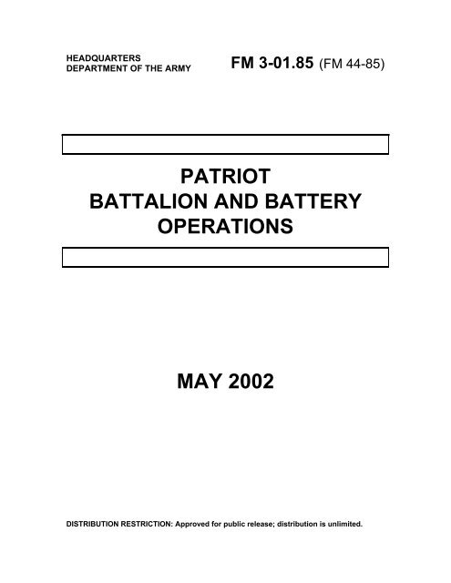 FM 3-01 85: Patriot Battalion and Battery Operations - BITS