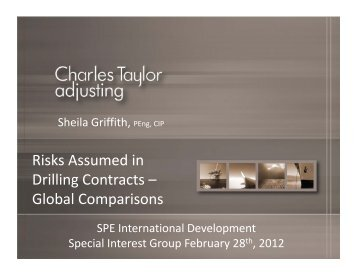 i k di Risks Assumed in Drilling Contracts – Global Comparisons