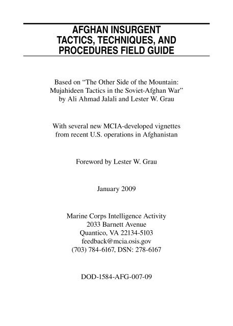 AfghAn Insurgent tActIcs, technIques, And Procedures fIeld guIde