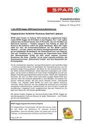 Produktinformation Vegetarischer Aufstrich Hummus überholt ... - Spar