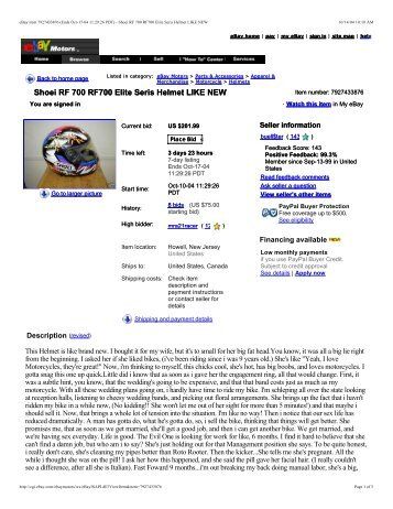 Shoei RF 700 RF700 Elite Seris Helmet LIKE NEW ... - Get a Free Blog