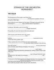 STRINGS OF THE ORCHESTRA WORKSHEET