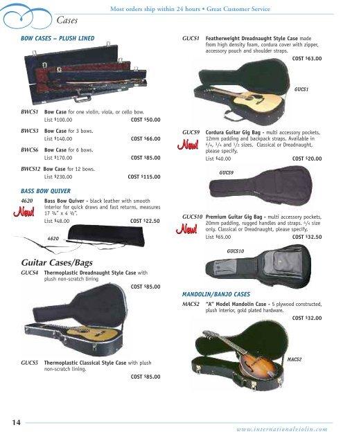 WHOLESALE CATALOG - International Violin Co., Violin, Luthier ...
