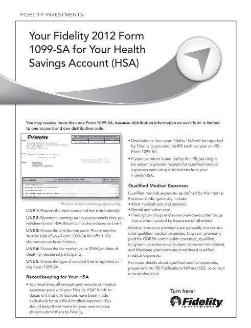 Your Fidelity 2012 Form 1099 Sa For Your Health Savings Account