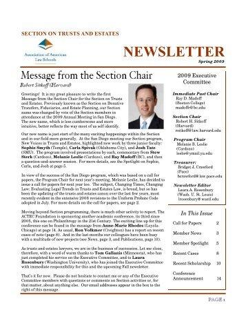 Spring 2009 Newsletter - AALS