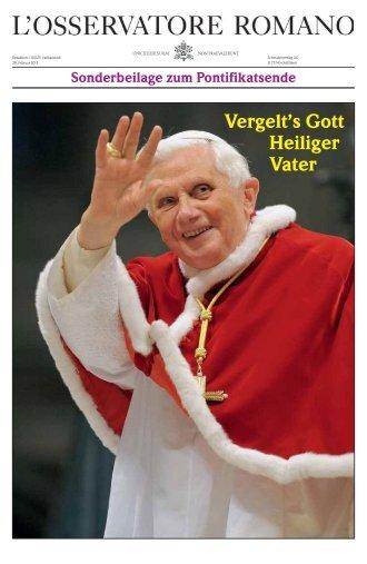 Lesen Sie die komplette Sonderbeilage zum Pontifikatsende von