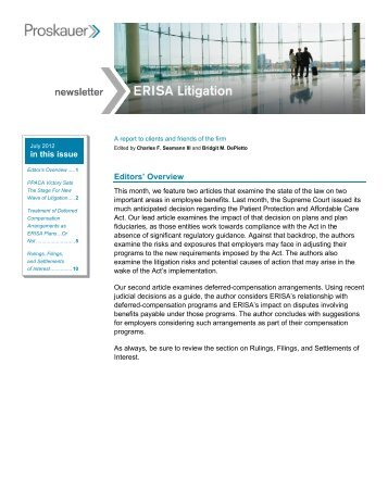 Editors' Overview in this issue - Proskauer Rose LLP