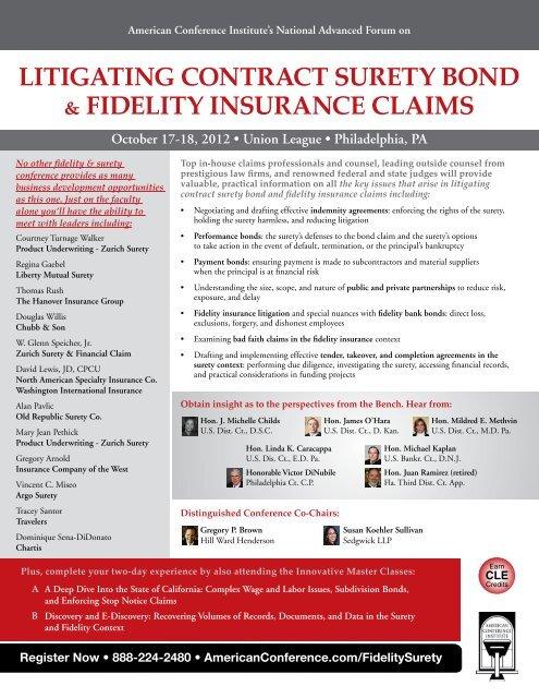 litigating contract surety bond & fidelity insurance ... - Sedgwick LLP