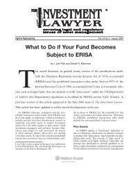What to Do if Your Fund Becomes Subject to ERISA - Morgan, Lewis ...