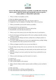VAK Quiz Answer the following questions as ... - Wise Caterpillar