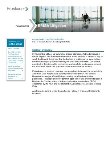 The ERISA Litigation Newsletter - Proskauer Rose LLP