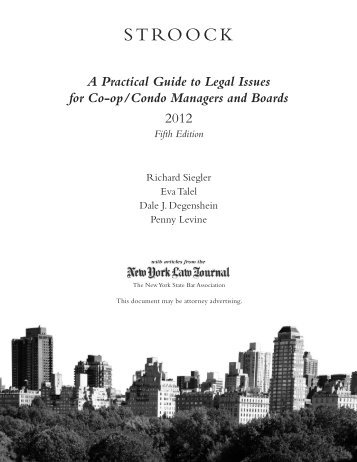 A Practical Guide to Legal Issues for Co-op/Condo ... - Stroock