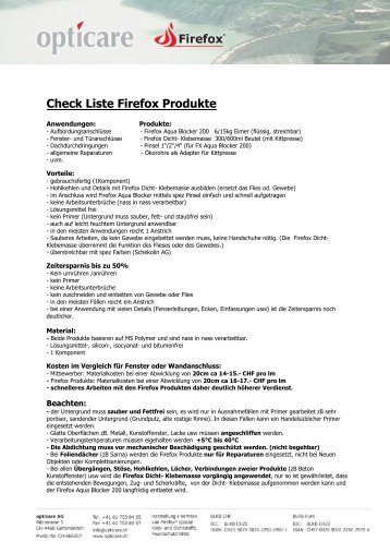 Check Liste Firefox Produkte - opticare ag, Firefox, Gelterkinden
