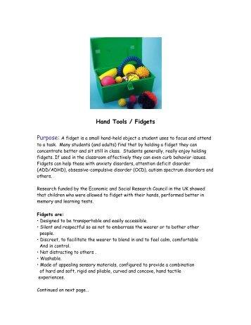 Hand Tools / Fidgets - School District of Beloit