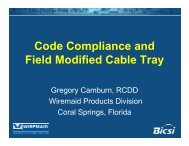 Code Compliance and Field Modified Cable Tray - Bicsi