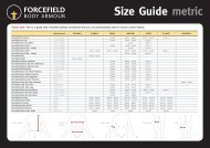 Size Guide metric - Forcefield Body Armour