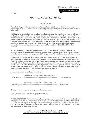 MACHINERY COST ESTIMATES